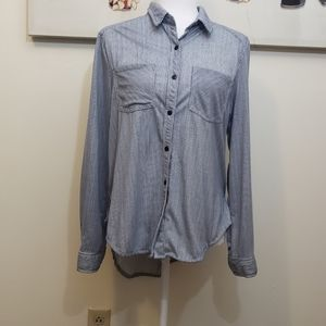 Passport Stripped Long Sleeve Button Up Top
